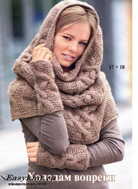 шарф хомут спицами