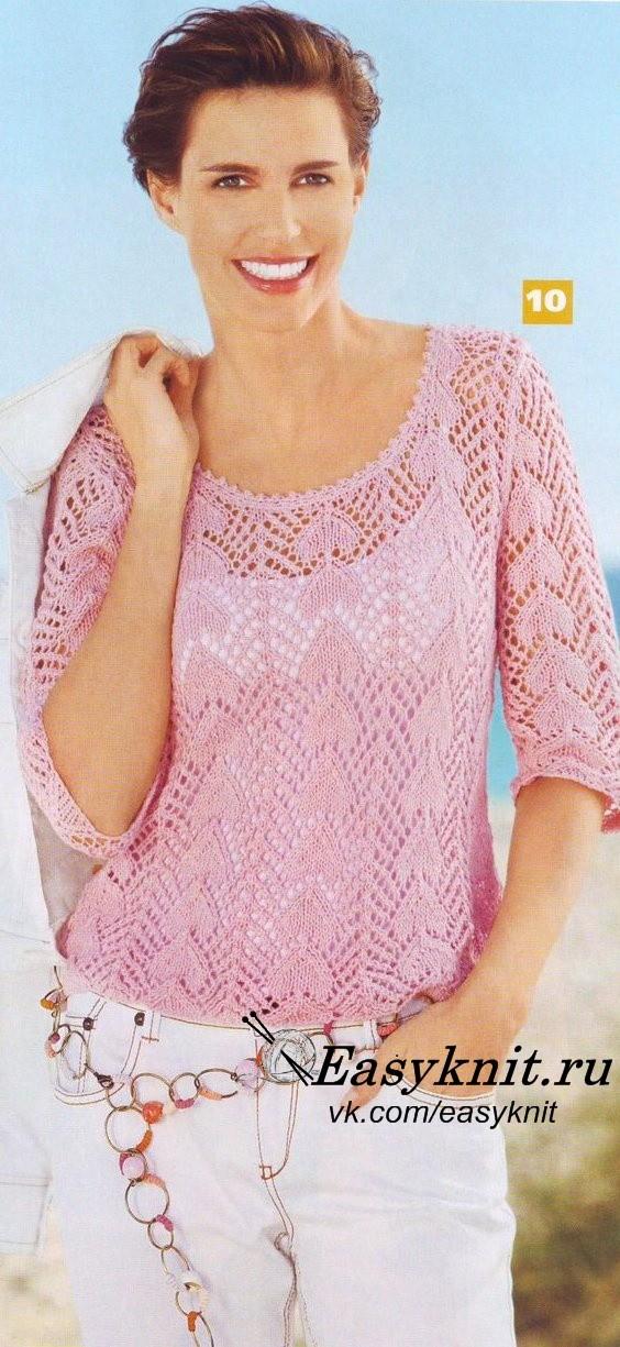 ажур пуловер