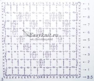 схема бабушкин квадрат с узором сердце
