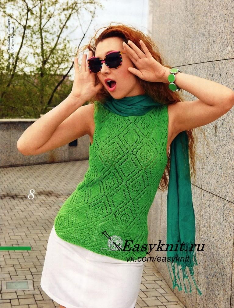 зеленый топ спицами