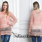 Нежно-розовый пуловер крючком