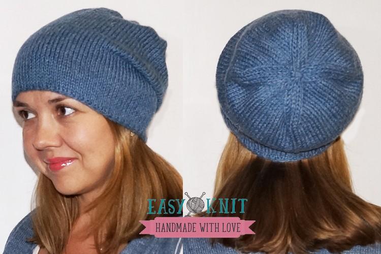 шапка бини спицами лицевой гладью Easyknitru