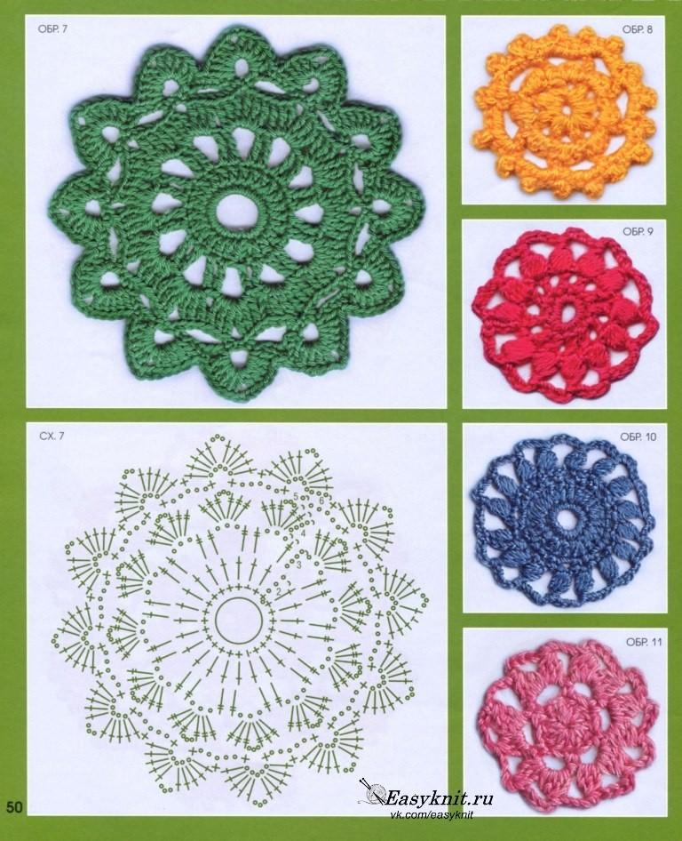 визитки круглые мотивы крючком со схемами фото предложения