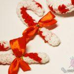 Рождественский красно-белый леденец крючком