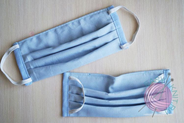 Двухслойная защитная маска со складками