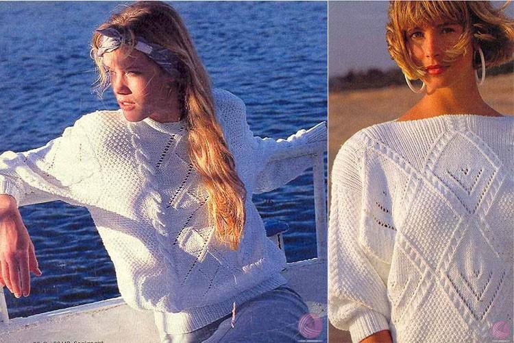Белый ажурный джемпер спицами. 15 летних моделей и схем узора