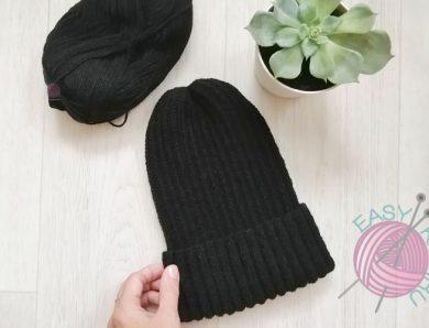 Черная шапка тыковка с удлиненной макушкой МК